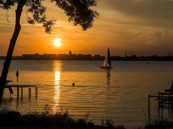 Lake Monona Photograph - Evening Sail - Madison - Wisconsin by Steven Ralser