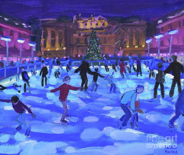 Wall Art - Painting - Evening Skaters, Somerset House by Andrew Macara