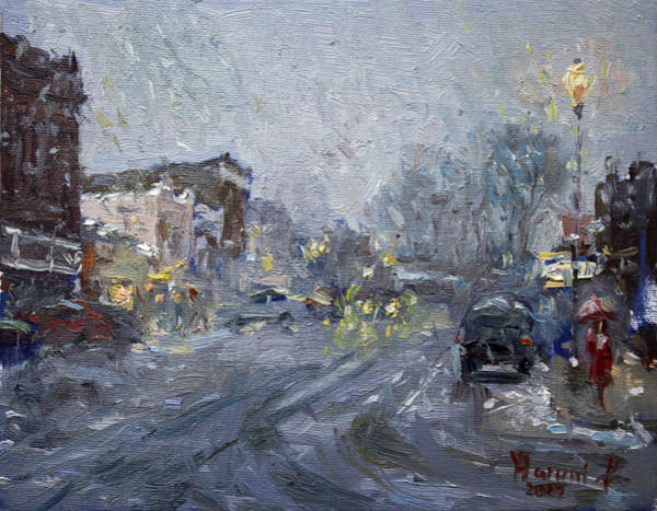 St Painting - Evening Snowfall At Webster St by Ylli Haruni