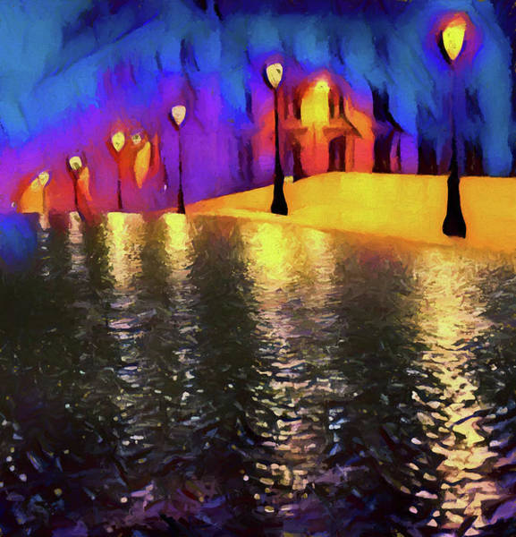 Wall Art - Painting - Evening Street Lights by Dan Sproul