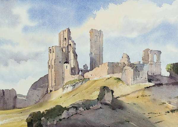 Corfe Painting - Evening Sun On Corfe Castle by Oliver Pyle
