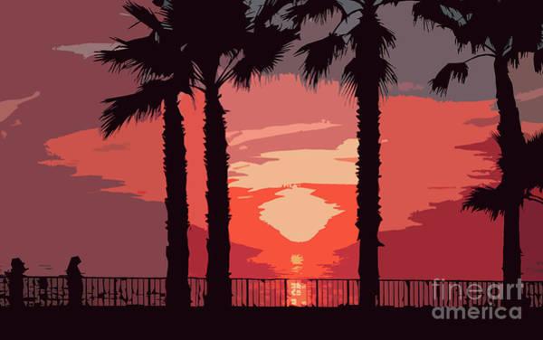 Digital Art - Evening Sunset Along The Walk by Kirt Tisdale