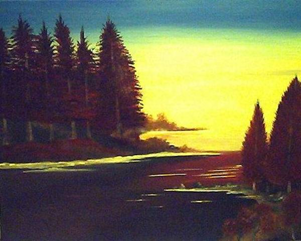Lula Wall Art - Painting - Evening Sunset by Lula Becraft