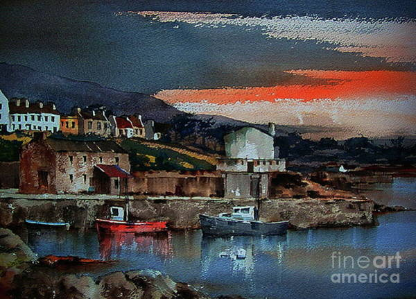 Painting - Evening Sunset On Rroundstone Old Harbour, Galway by Val Byrne