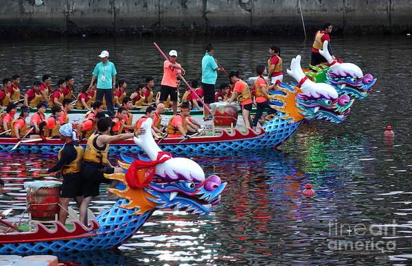 Evening Time Dragon Boat Races In Taiwan Art Print