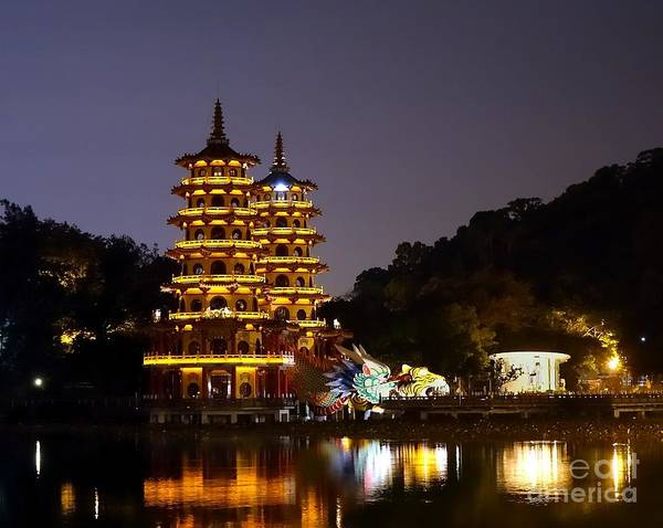 Evening View Of The Dragon And Tiger Pagodas In Taiwan Art Print