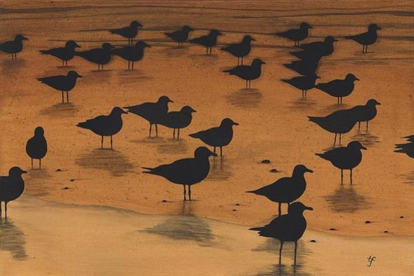 Wall Art - Painting - Evening With Gulls by Twyla Francois