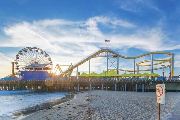 Photograph - Event Horizon Santa Monica Pier Sunset by Scott Campbell