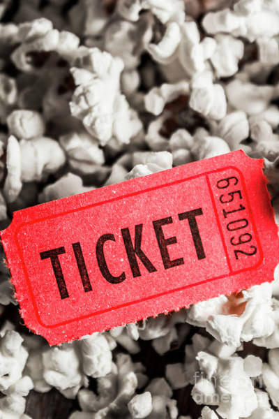 Film Still Photograph - Event Ticket Lying On Pile Of Popcorn by Jorgo Photography - Wall Art Gallery