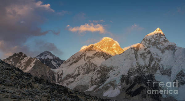 Nepal Wall Art - Photograph - Everest And Lhotse Alpenglow Cloudscape by Mike Reid
