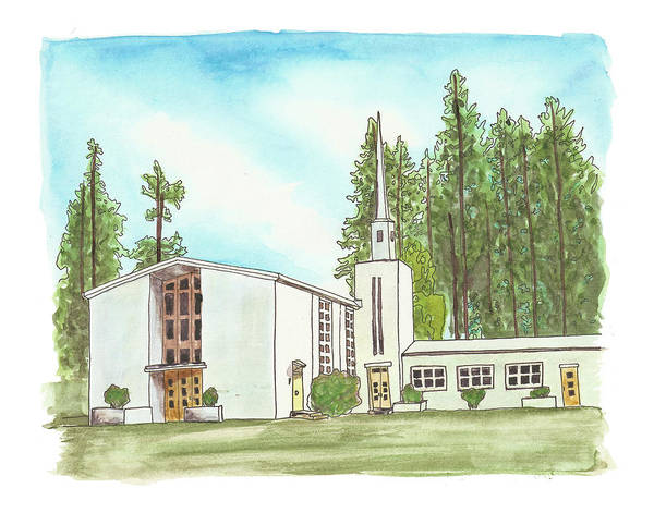 Painting - Evergreen Chapel by Betsy Hackett
