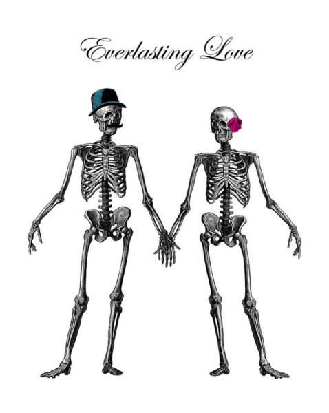 Anatomy Digital Art - Everlasting Love Couple Skeleton Couple by Madame Memento