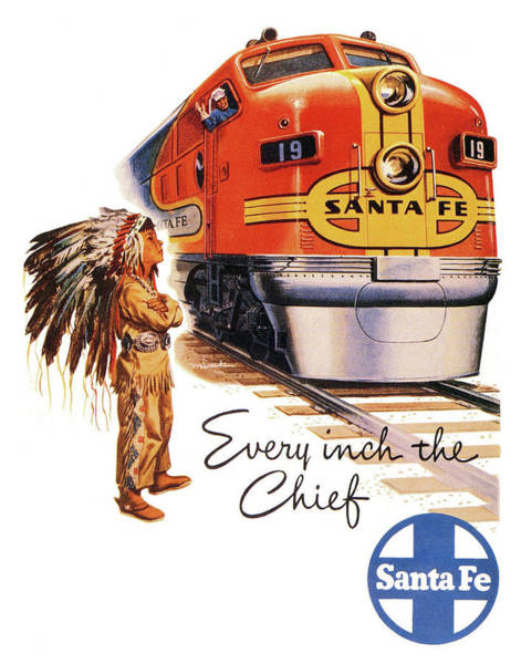 Railway Painting - Every Inch The Chief, Santa Fe Railway by Long Shot