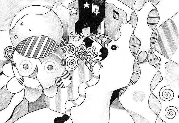 Organic Abstraction Drawing - Everybody Dreams by Helena Tiainen