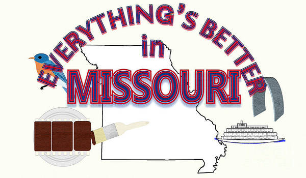 Barbeque Digital Art - Everything's Better In Missouri by Pharris Art