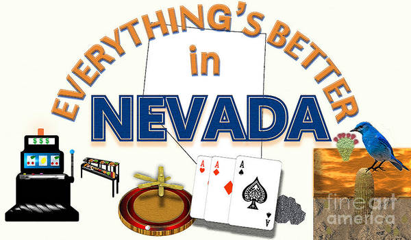 Deck Of Cards Digital Art - Everything's Better In Nevada by Pharris Art