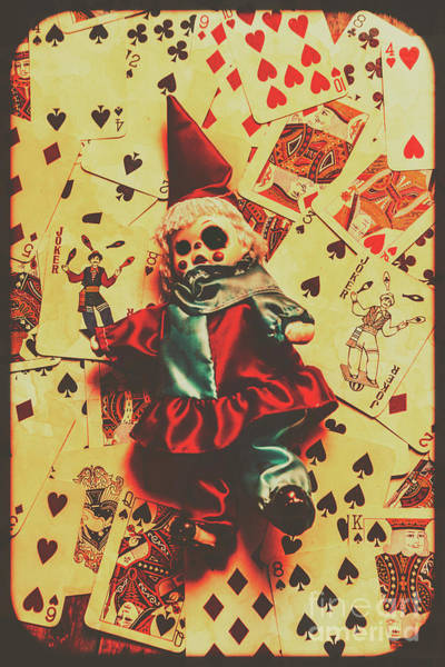 Evil Clown Doll On Playing Cards Art Print