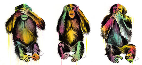 Monkey Wall Art - Painting - Evil Delux by Matt Truiano