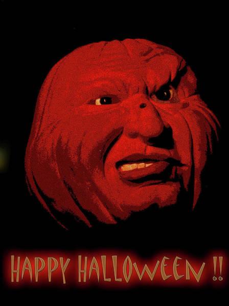 Mixed Media - Evil Pumpkin Card by Lesa Fine