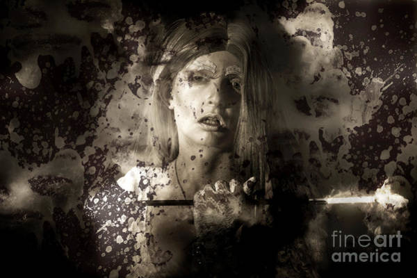 Smoke Fantasy Wall Art - Photograph - Evil Vampire Woman Looking Into Bloody Mirror by Jorgo Photography - Wall Art Gallery