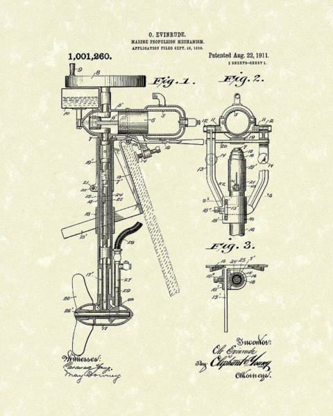 Drawing - Evinrude Boat Motor 1911 Patent Art by Prior Art Design