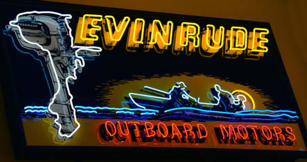 Outboard Engine Photograph - Evinrude Neon Sign by David Lee Thompson