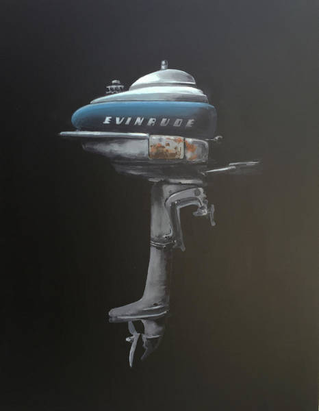 Isolated Painting - Evinrude Outboard by Jeffrey Bess