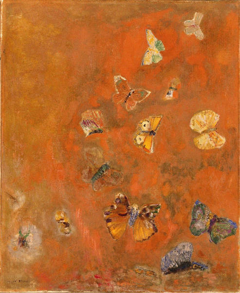 Blue Cornflower Painting - Evocation Of Butterflies, 1912 by Odilon Redon