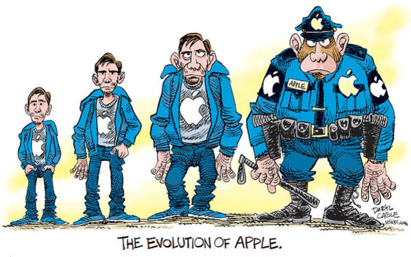Drawing - Evolution Of Apple by Daryl Cagle