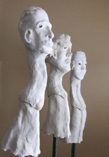 Fired Clay Wall Art - Sculpture - Evolution Triptych by Andre Ferron