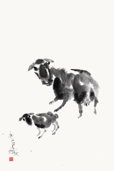 Ewe With Lamb  Art Print by Nadja Van Ghelue