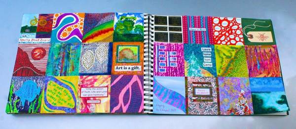 Mixed Media - Example Of Box-a-day Art Journal Page Spread by Polly Castor