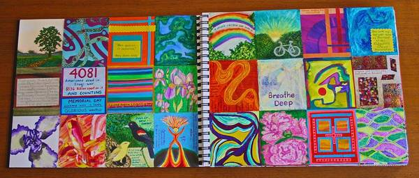Mixed Media - Example Of Box-a-day Journal Spread by Polly Castor