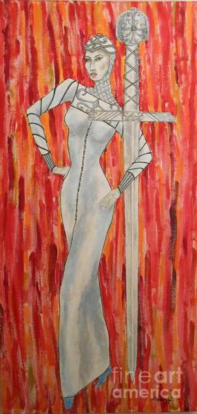 Flaming Sword Painting - Excalibur by Jayne Somogy