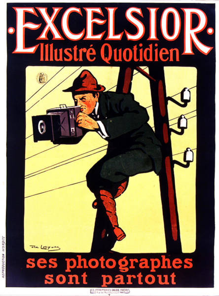 Electric Mixed Media - Excelsior Journal - Illustre Quotidien - Vintage French Magazine Advertising Poster - Newspaper by Studio Grafiikka