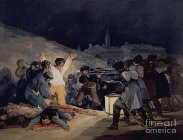 Blood Painting - Execution Of The Defenders Of Madrid by Goya