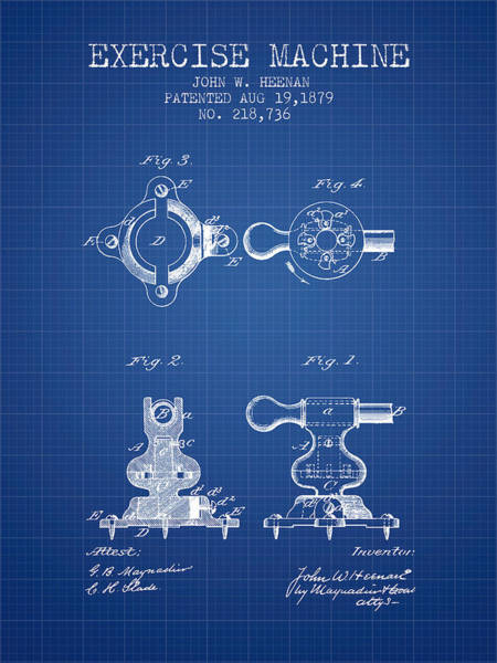 Exercise Machine Patent From 1879 - Blueprint Art Print