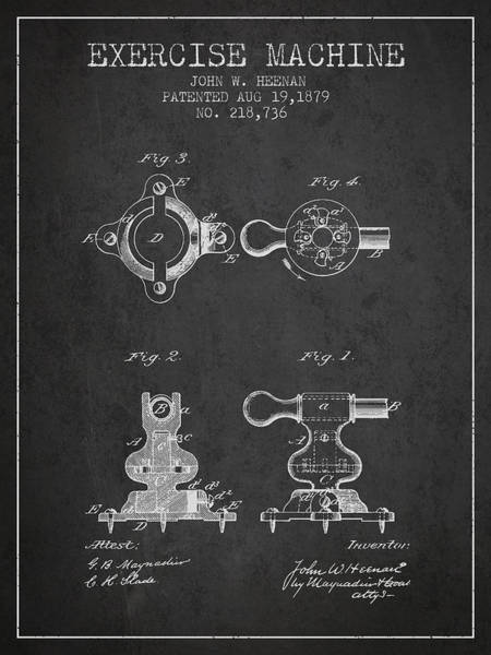 Exercise Machine Patent From 1879 - Charcoal Art Print