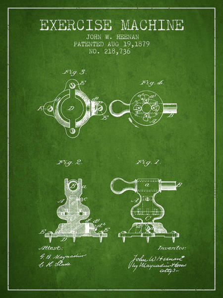 Exercise Machine Patent From 1879 - Green Art Print