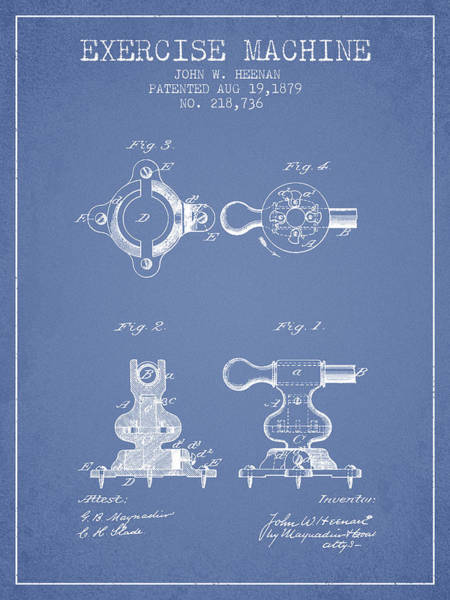 Exercise Machine Patent From 1879 - Light Blue Art Print