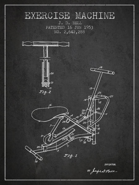 Exercise Machine Patent From 1953 - Charcoal Art Print