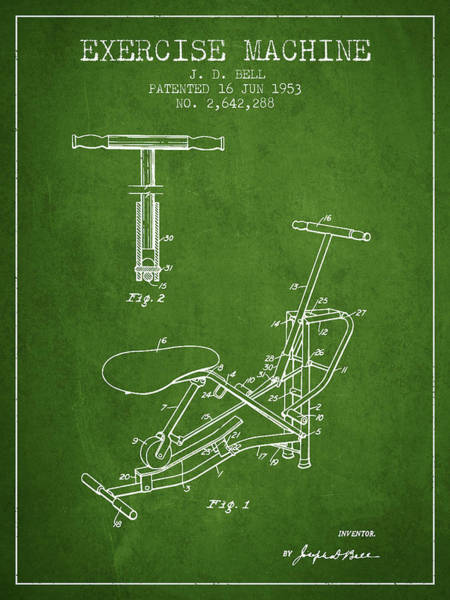 Exercise Machine Patent From 1953 - Green Art Print