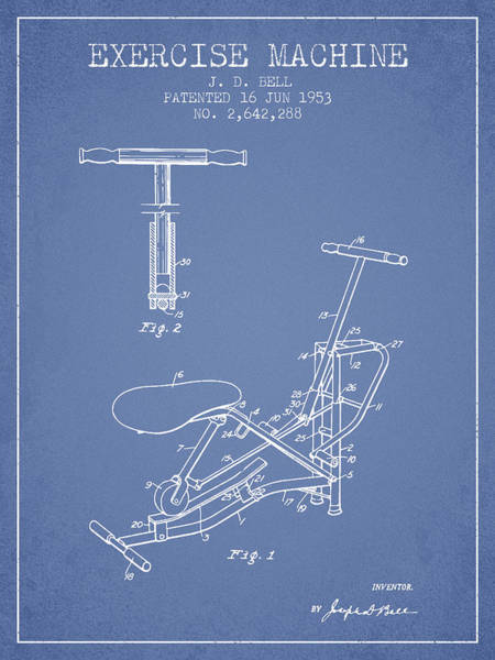 Exercise Machine Patent From 1953 - Light Blue Art Print