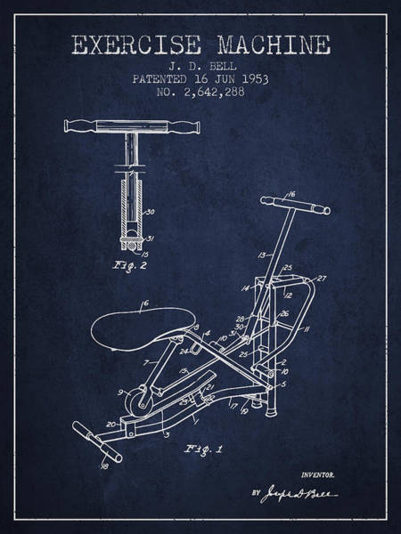 Exercise Machine Patent From 1953 - Navy Blue Art Print