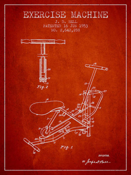 Exercise Machine Patent From 1953 - Red Art Print