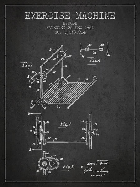 Exercise Machine Patent From 1961 - Charcoal Art Print