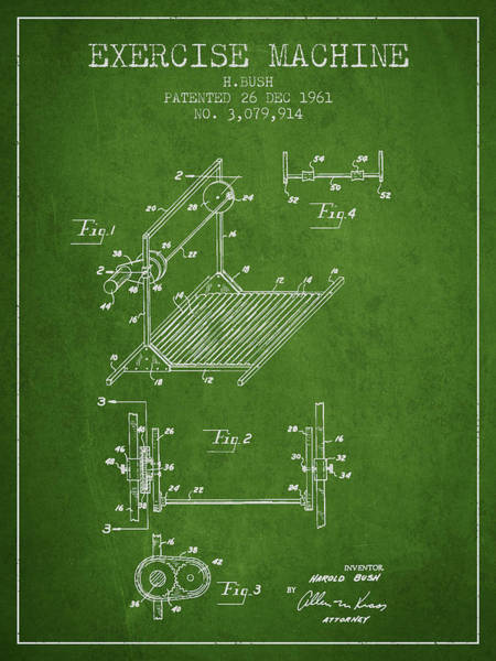 Exercise Machine Patent From 1961 - Green Art Print