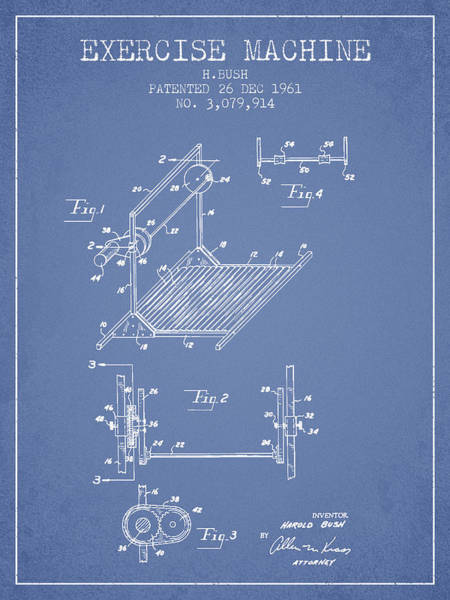 Exercise Machine Patent From 1961 - Light Blue Art Print