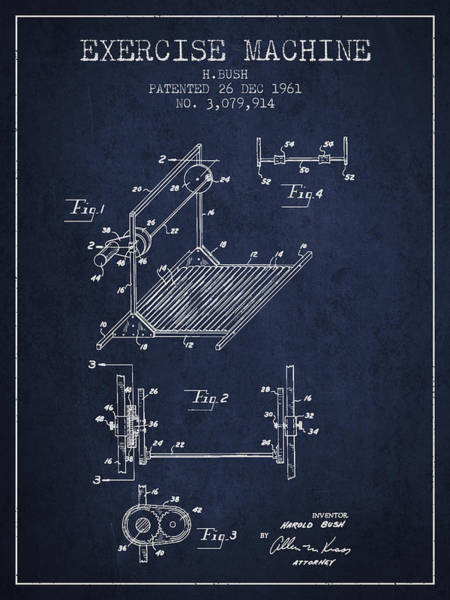 Exercise Machine Patent From 1961 - Navy Blue Art Print
