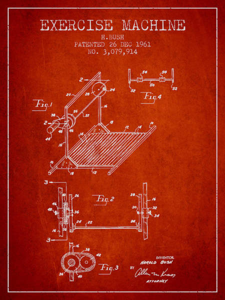 Exercise Machine Patent From 1961 - Red Art Print